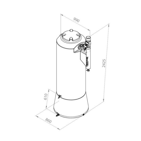 Desenho técnico cisterna 750L com filtro
