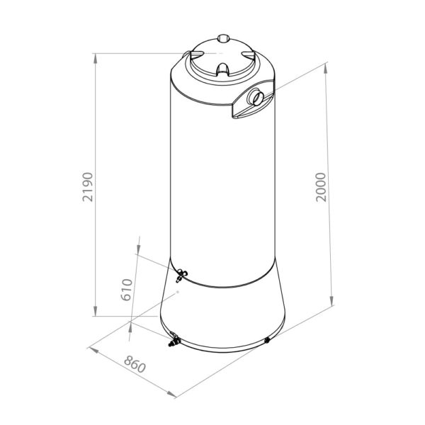 Desenho técnico cisterna 750L sem filtro
