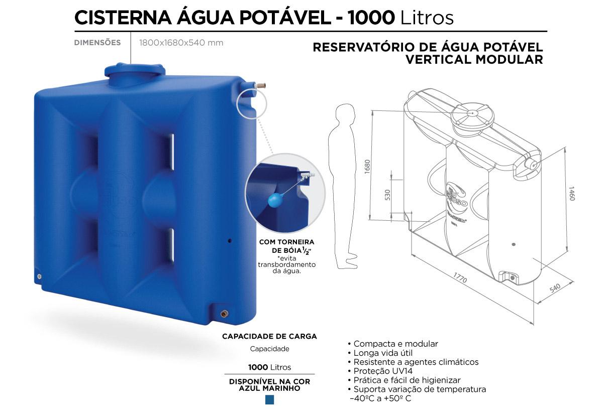 cisterna água potável 1000l