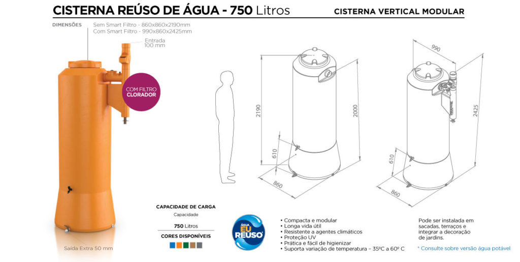 cisterna água potável 750l