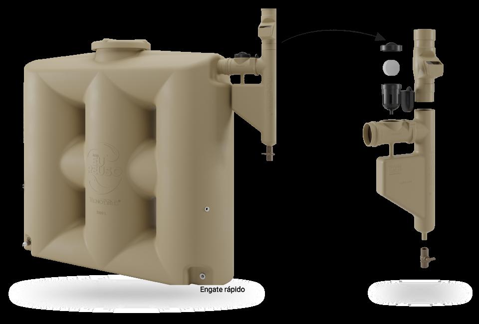 Cisterna 1000L bege e smart filtro